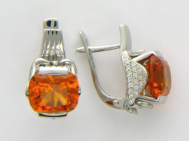 Серьги с оранжевыми гранатами спессартинами ювелирного качества