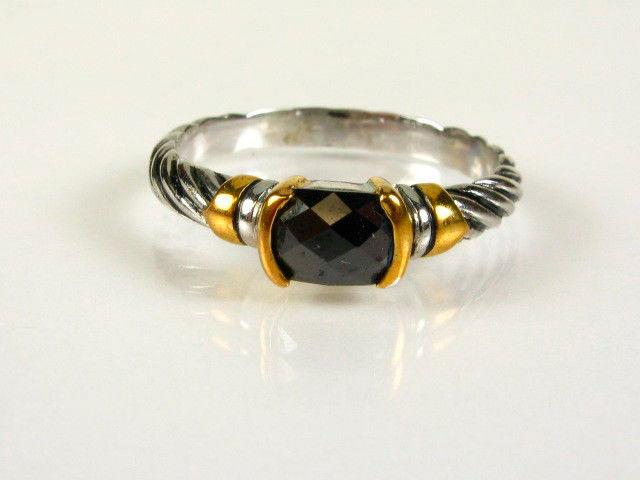 Кольцо с чёрным огранённым кристаллом