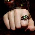 Кольцо с хризолитом в стиле стимпанк
