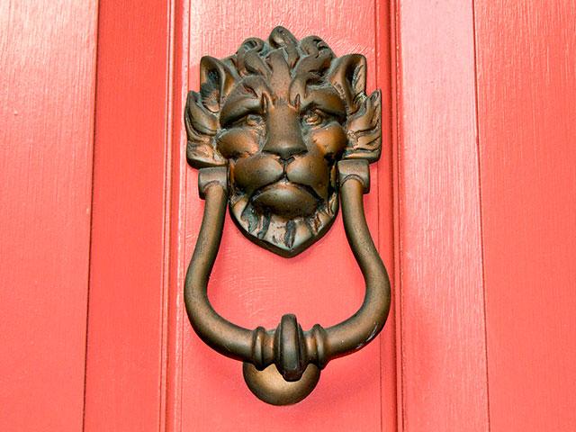 Дверной молоток в виде льва на рыжевато-розовой двери