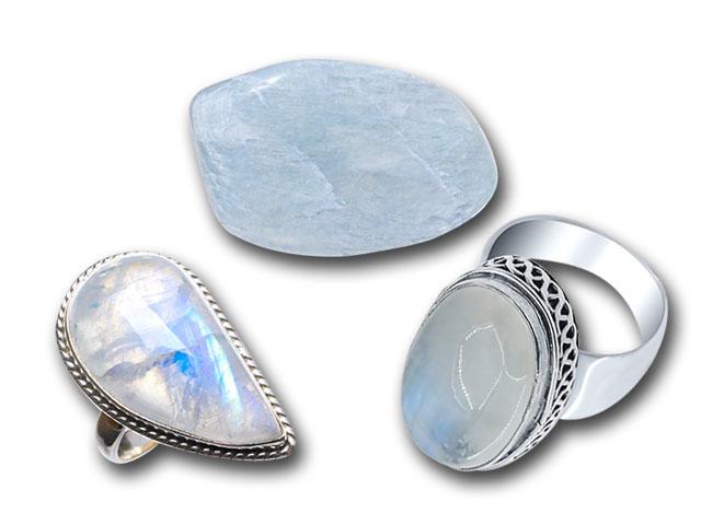 Лунный камень кабошон и кольца