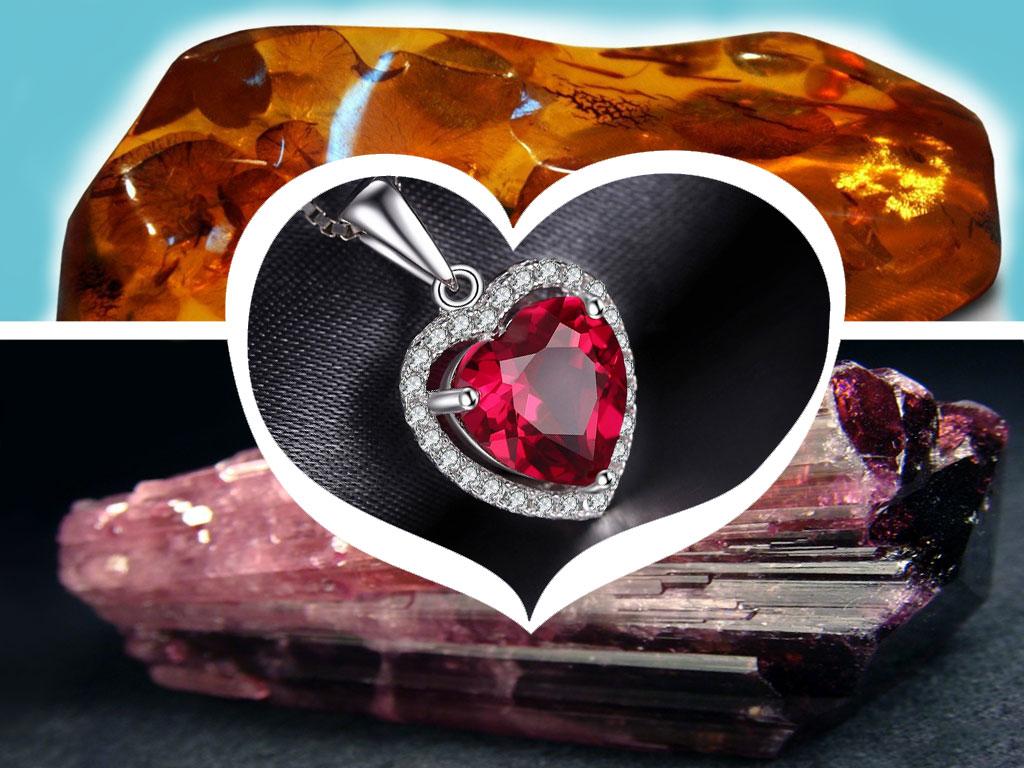 Янтарь, турмалин и рубин для любви