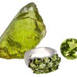 Хризолит необработанный кольцо и огранка