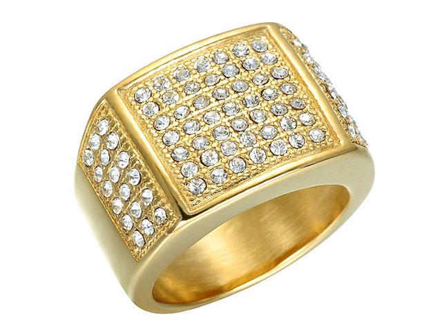 Мужской золотой перстень с цирконами