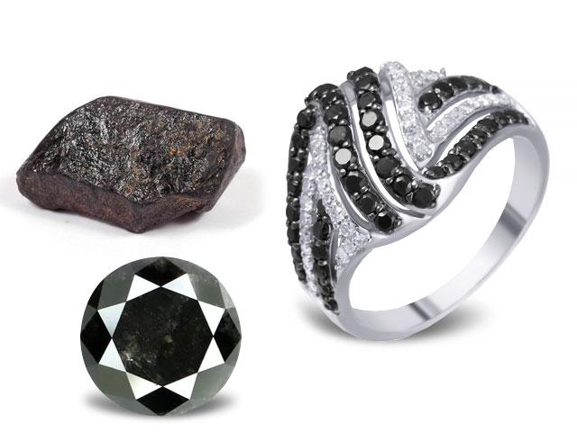 Чёрный алмаз карбонадо для женщины козерога, камень, огранка и кольцо