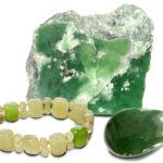 Браслет, кулон и глыба из зеленого минерала для любого Козерога