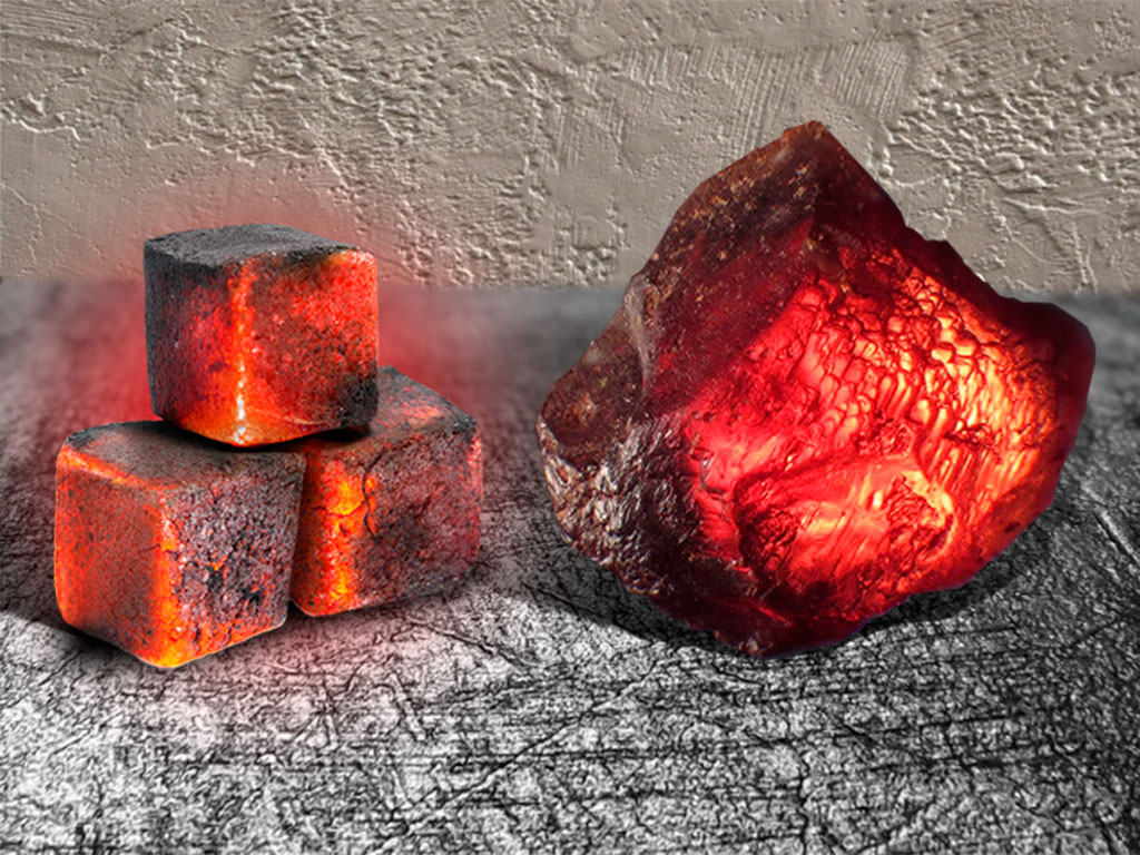 Раскалённый уголь и камень карбункул