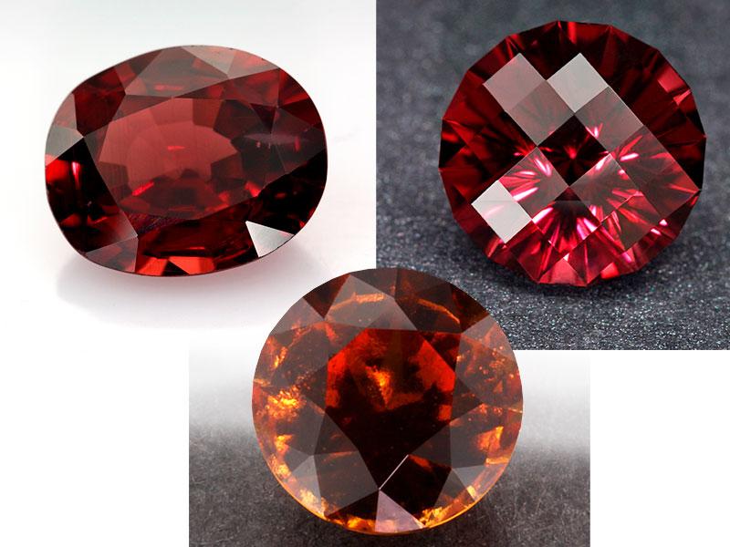 Красные ограненные кристаллы
