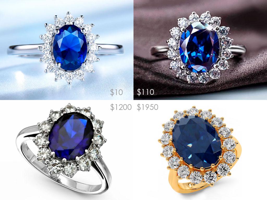 Кольцо принцессы Дианы - цены на реплики